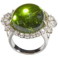 18 Karat White Gold Diamond and Peridot Cocktail Ring