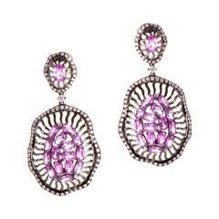 18 Karat White Gold Diamond and Pink Sapphire Drop Earrings