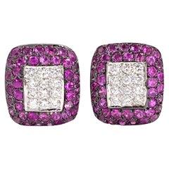 18 Karat White Gold Diamond and Pink Sapphire Earrings