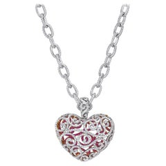 18 Karat White Gold Diamond and Pink Sapphire Heart on a Full Diamond Link Chain