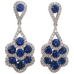 18 Karat White Gold Diamond and Royal Blue Sapphire Dangle Earrings