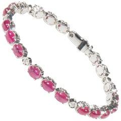 18 Karat White Gold Diamond and Ruby Bracelet
