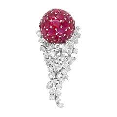 18 Karat White Gold Diamond and Ruby Brooch