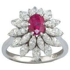18 Karat White Gold Diamond and Ruby Cluster Ring