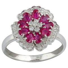 18 Karat White Gold Diamond and Ruby Cluster Ring