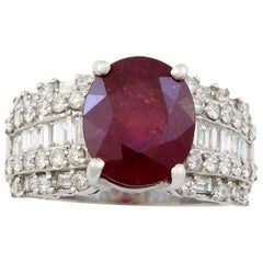 18 Karat White Gold Diamond and Ruby Estate Cocktail Ring