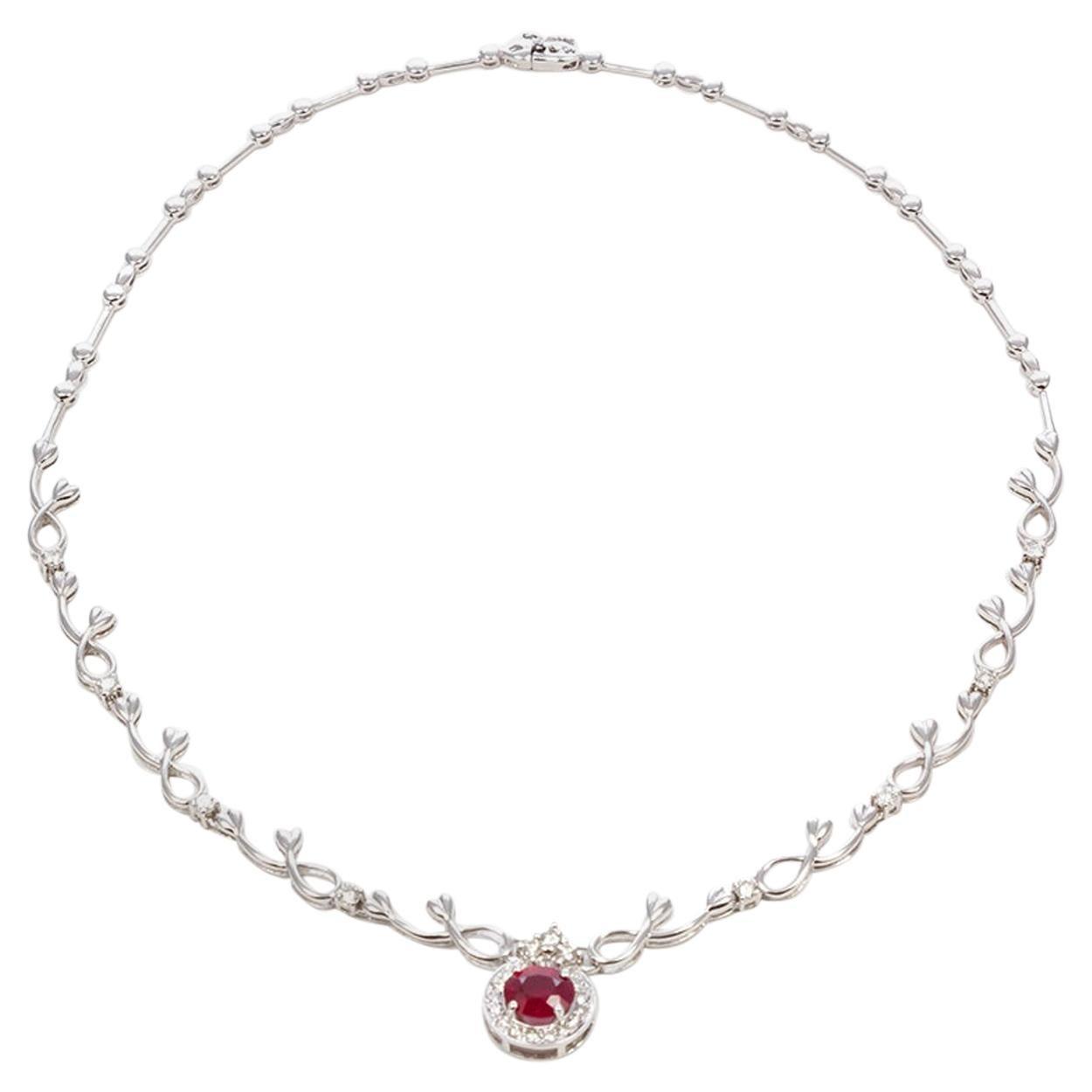 18 Karat White Gold Diamond and Ruby Necklace