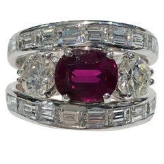 18 Karat White Gold Diamond and Ruby Ring