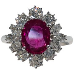 18 Karat White Gold Diamond and Ruby Ring