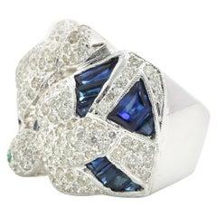 18 Karat White Gold Diamond and Sapphire Birds Ring