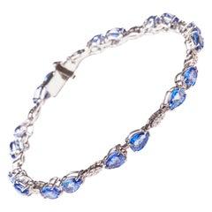 18 Karat White Gold Diamond and Sapphire Bracelet