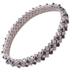 18 Karat White Gold, Diamond and Sapphire Bracelet