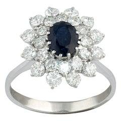 18 Karat White Gold Diamond and Sapphire Cluster Ring