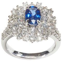 18 Karat White Gold Diamond and Sapphire Cocktail Ring