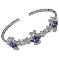 18 Karat White Gold Diamond and Sapphire Cuff Bangle Bracelet