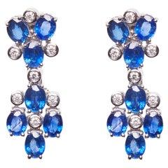 18 Karat White Gold Diamond and Sapphire Dangle Earrings
