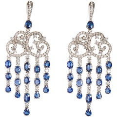 18 Karat White Gold Diamond and Sapphire Dangle Earrings