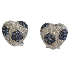 18 Karat White Gold Diamond and Sapphire Earrings 2.80 Carat I Color VS Clarity