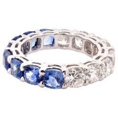 18 Karat White Gold Diamond and Sapphire Eternity Band
