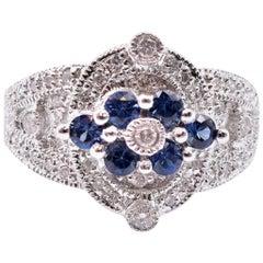 18 Karat White Gold Diamond and Sapphire Fashion Ring