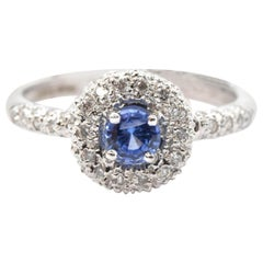 18 Karat White Gold Diamond and Sapphire Fashion Ring