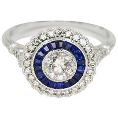 18 Karat White Gold Diamond and Sapphire Halo Ring