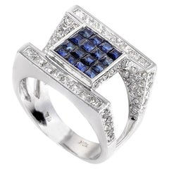 18 Karat White Gold Diamond and Sapphire Invisible Setting Ring
