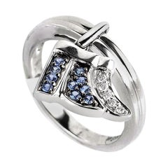 18 Karat White Gold Diamond and Sapphire Little Wing Ring