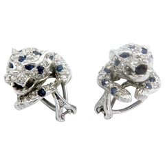 18 Karat White Gold Diamond and Sapphire Panther Stud Earrings