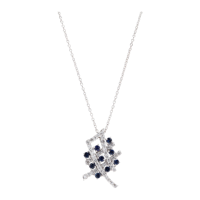 18 Karat White Gold Diamond and Sapphire Pendant Necklace