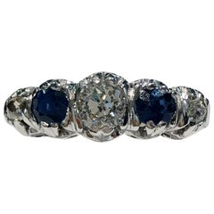 18 Karat White Gold Diamond and Sapphire Ring