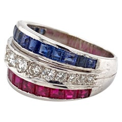 18 Karat White Gold Diamond and Sapphire, Ruby Ring