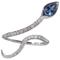 18 Karat White Gold Diamond and Sapphire Snake Ring