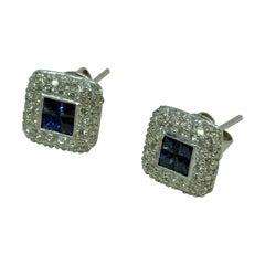 18 Karat White Gold Diamond and Sapphire Square Pave Earrings