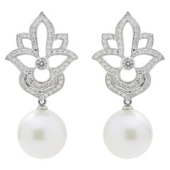 18 Karat White Gold, Diamond, and South Sea Pearl Earrings