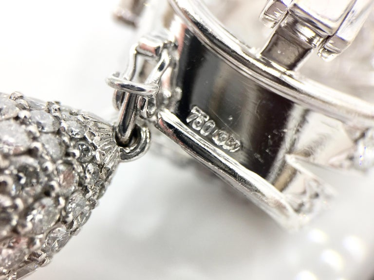 18 Karat White Gold Diamond and Tahitian Pearl Swirl Climber Earrings For Sale 7
