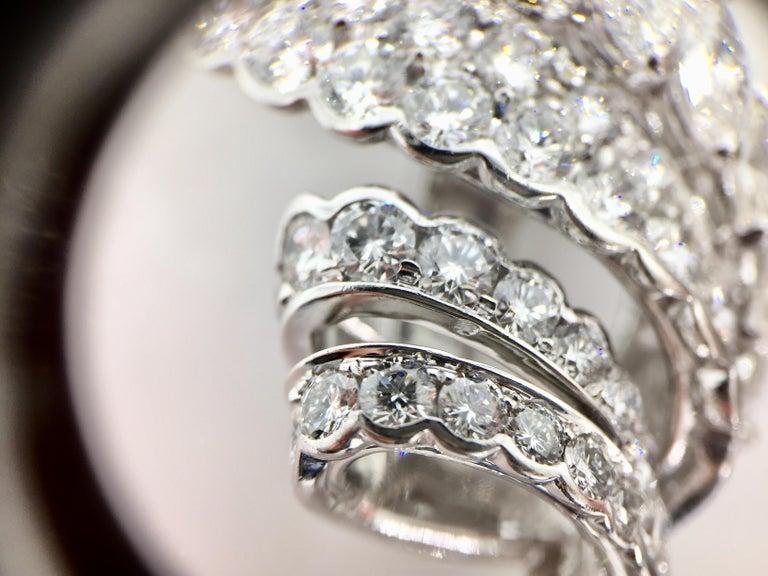 18 Karat White Gold Diamond and Tahitian Pearl Swirl Climber Earrings For Sale 1