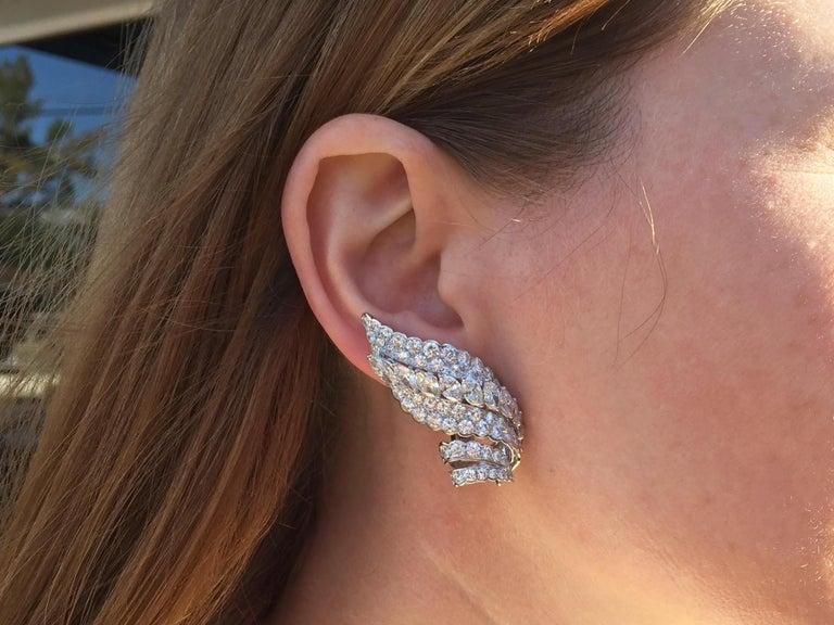 18 Karat White Gold Diamond and Tahitian Pearl Swirl Climber Earrings For Sale 4
