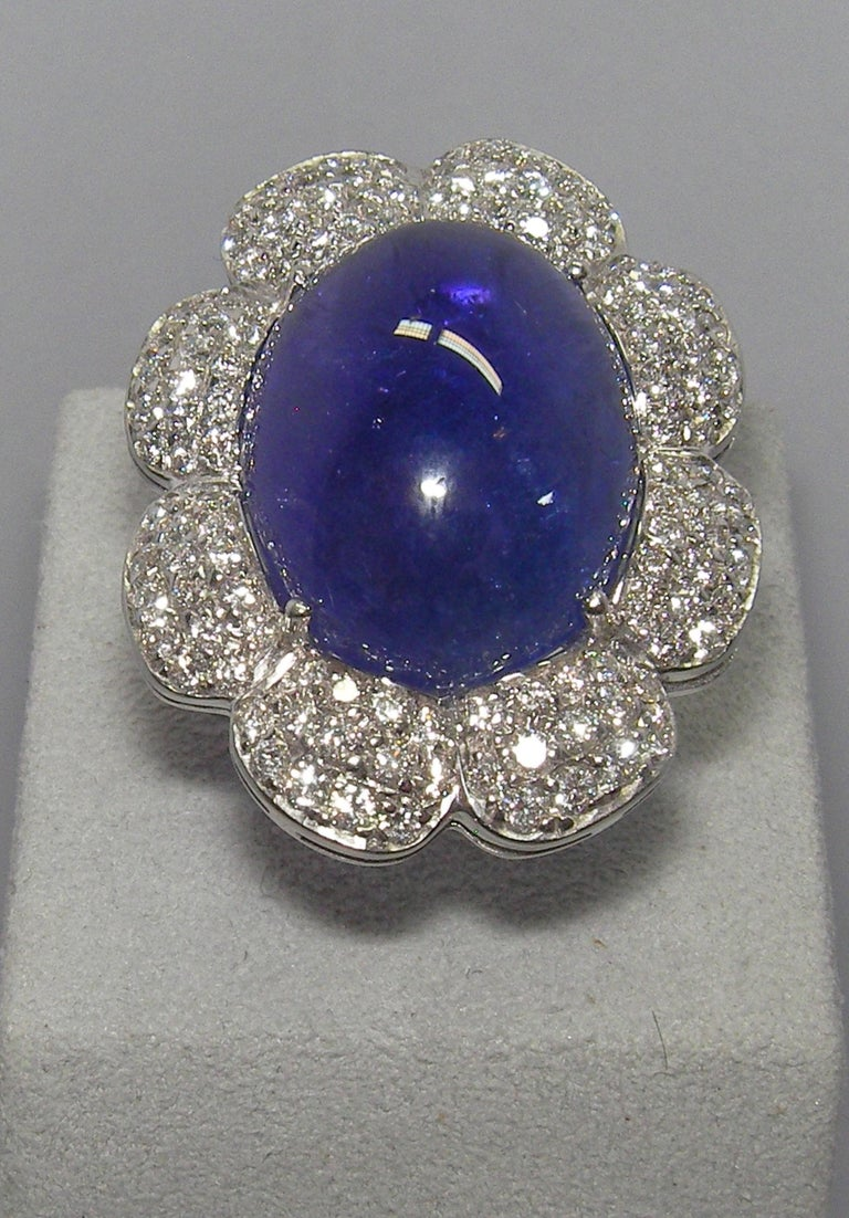 Mixed Cut 18 Karat White Gold Diamond and Tanzanite Cocktail Ring For Sale