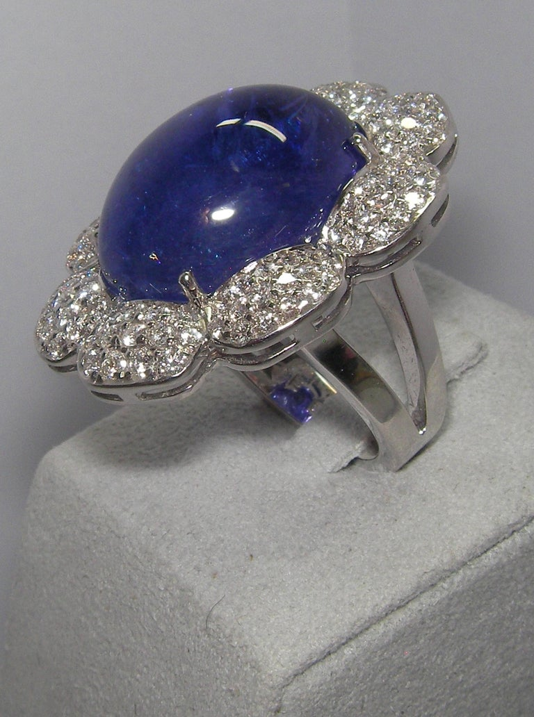 Women's or Men's 18 Karat White Gold Diamond and Tanzanite Cocktail Ring For Sale
