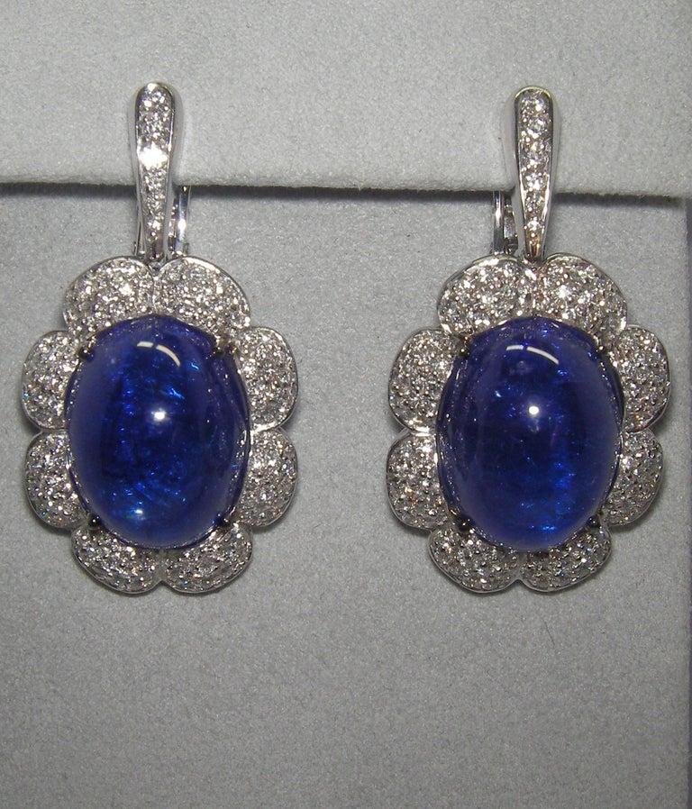 Mixed Cut 18 Karat White Gold Diamond and Tanzanite Drop Earrings For Sale