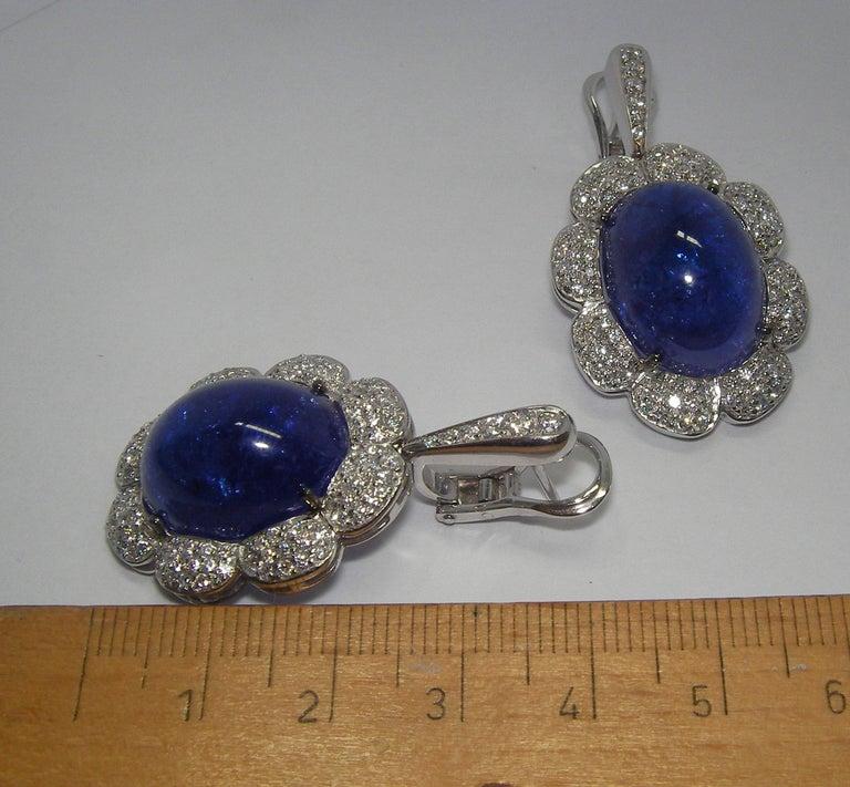 Women's or Men's 18 Karat White Gold Diamond and Tanzanite Drop Earrings For Sale