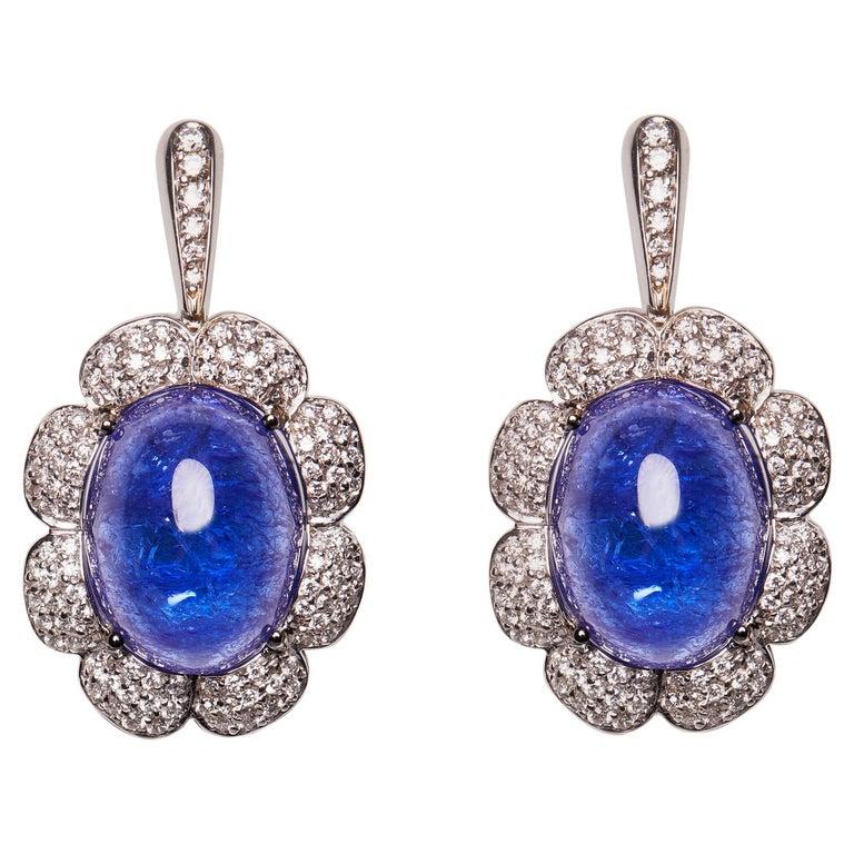 18 Karat White Gold Diamond and Tanzanite Drop Earrings For Sale