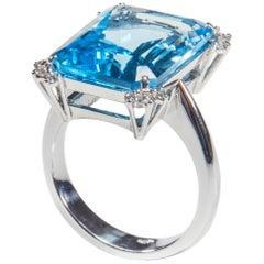 18 Karat White Gold Diamond and Topaz Cocktail Ring