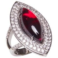 18 Karat White Gold Diamond and Tourmaline Cocktail Ring