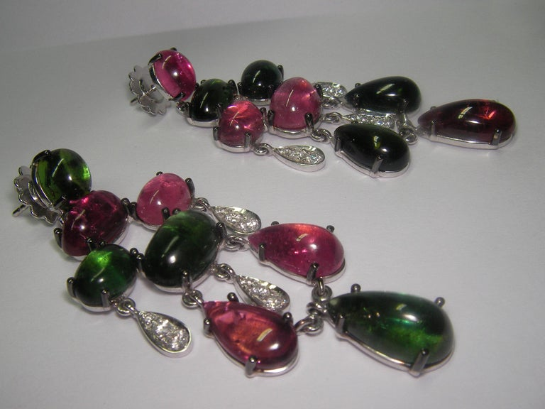 Cabochon 18 Karat White Gold Diamond and Tourmaline Dangle Earrings For Sale