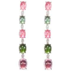 18 Karat White Gold Diamond and Tourmaline Dangle Earrings