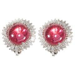 18 Karat White Gold Diamond and Tourmaline Stud Earrings