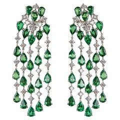 18 Karat White Gold Diamond and Tsavorite Dangle Earrings