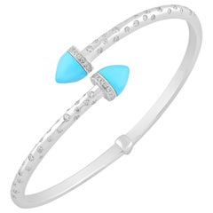 18 Karat White Gold Diamond and Turquoise Bangle